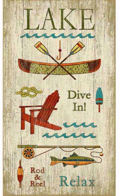 Lake vintage poster by Red Horse signs, a canoe and paddles, an Adirondack chair, a rod and reel, and a fish, so dive in and relax.