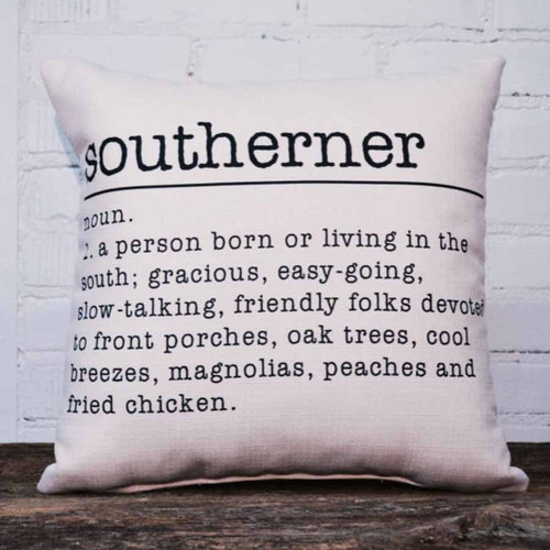 Southerner throw pillow, the little birdie, description of people from the south: easy-going, slow-talking, friendly folk.