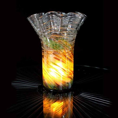 Fire and Ice vase by the Light Garden, Art Deco style glass vase