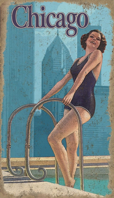 Chicago swimming girl, vintage poster, Red Horse signs, brunette in dark blue swimsuit by the side of the pool.