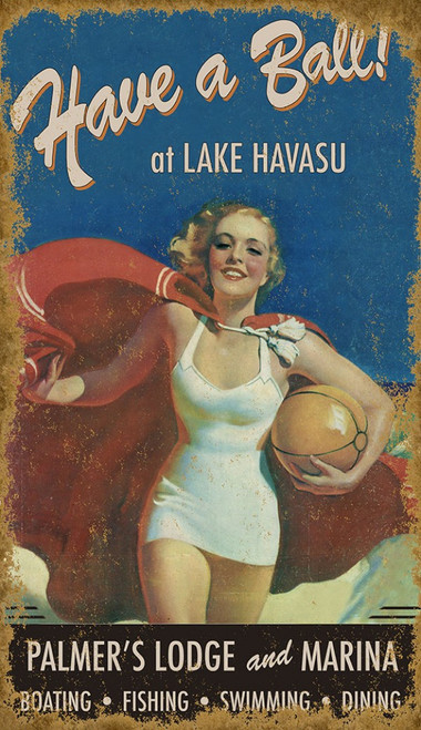 Have a ball vintage poster by Red Horse signs, a blonde beach girl in a white swimsuit, ball and red blanket.