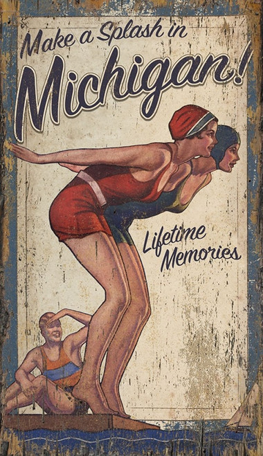 Make a Splash vintage poster by Red Horse signs, measures 15 by 26 inches. Two bathing beauties, one in red, the other in blue, are set to make a splash and race to the shore while a third girl watches.