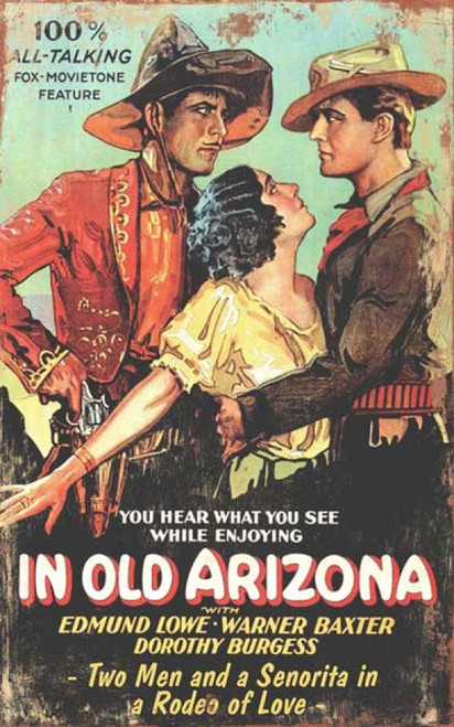 Rodeo of Love, vintage movie poster by Red Horse signs, In Old Arizona, two men vie for the love a beautiful woman.