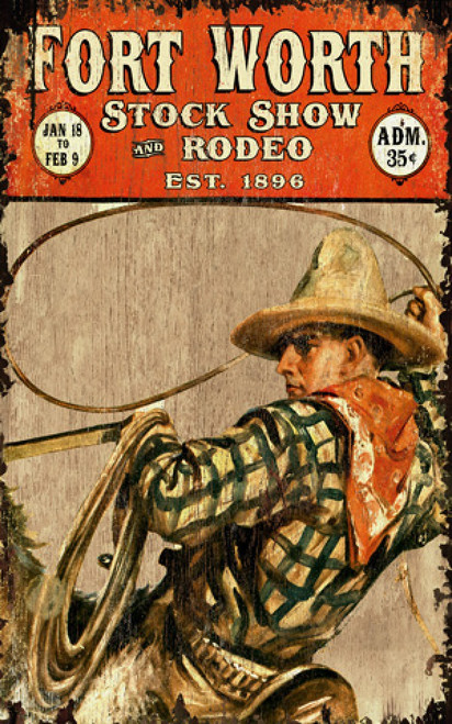 Stock Show at the Ft. Worth Rodeo, vintage poster, by Red Horse signs. A cowboy in tan hat twirls his lasso atop his horse.