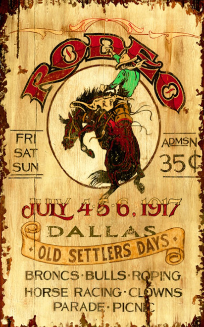 Bronco vintage poster, Red Horse signs. A cowboy in green shirt and tan hat rides a bronco at the Dallas Rodeo and Old Settlers Day.