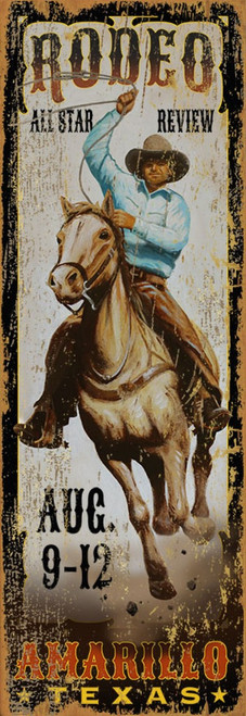 All Star Rodeo, vintage poster by Red Horse signs. At an All Star Review, a cowboy atop his galloping Palomino is set to lasso a steer or a horse.