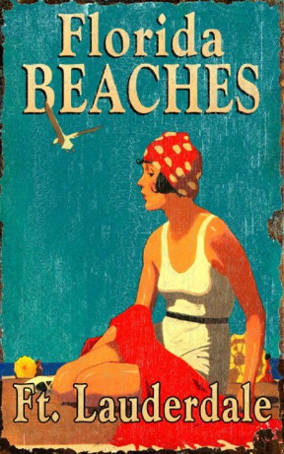 Florida Beaches, vintage poster, Red Horse signs, measures 15 by 26 inches. A girl in a white swimsuit with a red and white polka dot cap sits on a beach, light blue sky, dark blue ocean.