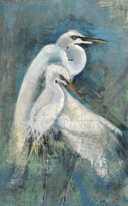Egret Pair, Artist Anthony Morrow, Red Horse signs, two great egrets nestling together on a blue background.