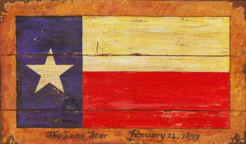 Texas Flag, Red Horse signs. Lone Star State flag, single white star on blue field with alternate white and red bars.
