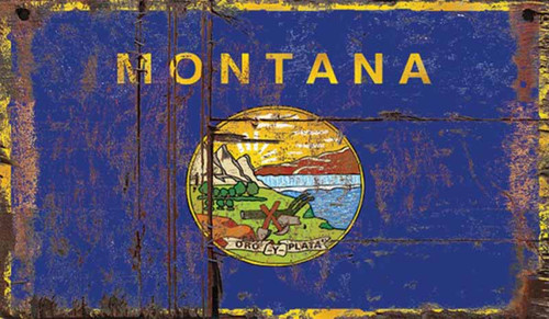 Montana State Flag, by Red Horse signs. Montana State Seal on a field of blue, Latin oro y plata, gold and silver.