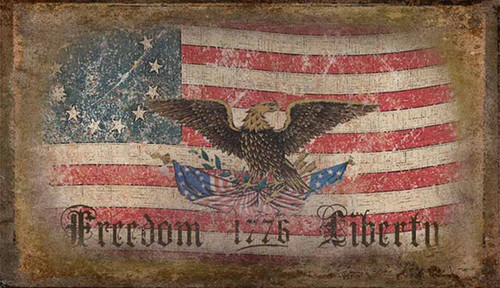 Freedom and Liberty, 1776, Red Horse sign, custom vintage American flag with a rustic flag and eagle on a distressed wood panel.