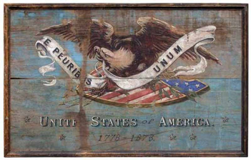 """Shield, Red Horse vintage sign, American eagle on an American Shield carrying a white banner in the eagle's mouth with the motto """"E pluribus unum,"""" From many one."""