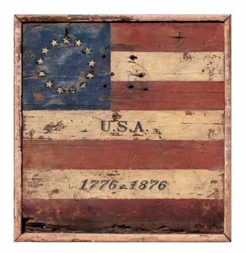 Centennial Flag on a distressed wooden board, by Red Horse signs, Vintage image of American flag and original 13 star circle.