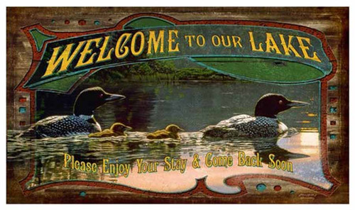 Welcome to our lake, by Red Horse signs, Vintage poster image of loon family with ducklings swimming on a serene lake.