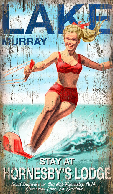 Lake Murray, vintage poster, Red Horse signs, measures 15 by 26 inches. Blonde girl in two piece red swimsuit water skis.