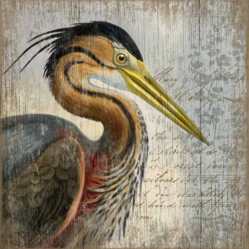 Red Heron, Vintage poster, Red Horse signs,  Suzanne Nicoll's image of a red heron (Reddish Egret) on a distressed knotty wood panel