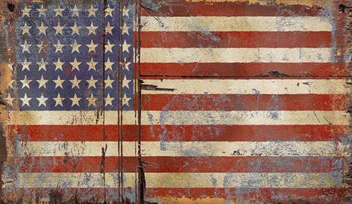 Old Glory vintage flag, by Red Horse signs,  Vintage American flag with 48 stars on distressed knotty wood board.