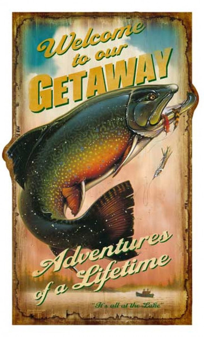 Getaway, vintage sign Red Horse signs, experience Adventures of a Lifetime. It is a fisherman's paradise, and angler's delight