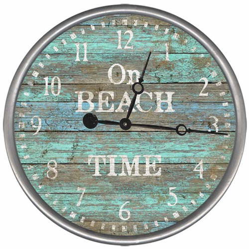 "On Beach Time is how it reads, but you can customize this clock and let it read, ""On Lake Time"" or whatever you like. At Robyn's Lake House, it is always ""Fun Time at the Lake"". Red Horse signs clock measures 15 inches in diameter, with rustic metal rim."