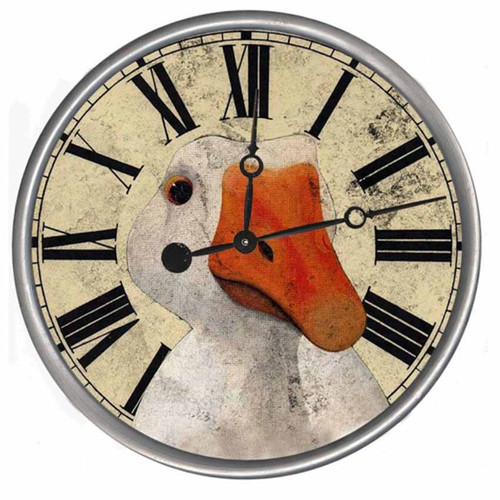 Goose vintage clock, Red Horse signs, a traditional round shape with an attractive rustic design of a goose head on a cream background