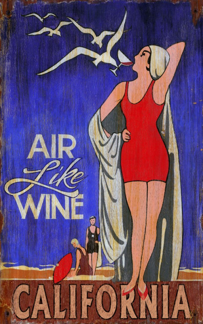 Air Like Wine, vintage poster by Red Horse signs, Girl in red bathing suit and white cap on a beach with a glass of wine delivered by a seagull, deep blue background