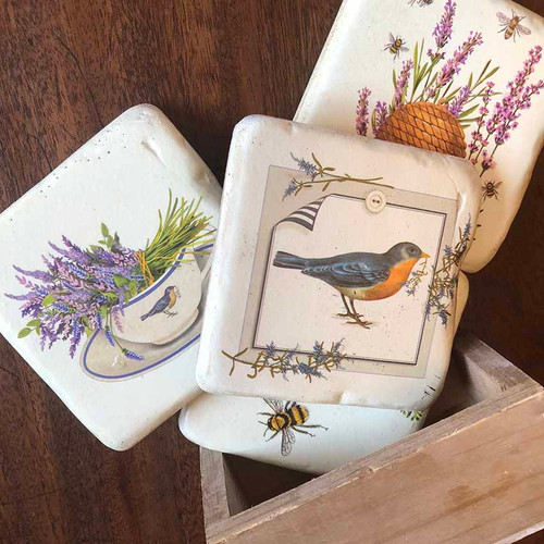 Lavender Coasters, set of 4 images, Bee hive, Lavender and Honey Bees, Blue Bird, and Blue Bird Tee Cup with Lavender, Made of Crushed Stone Resin, Creative Coop