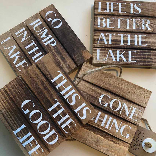 Mud Pie Lake Coasters, Set of 4: This is the Good Life, Gone Fishing, Go Jump in the Lake, and Life is Better at the Lake wood coasters
