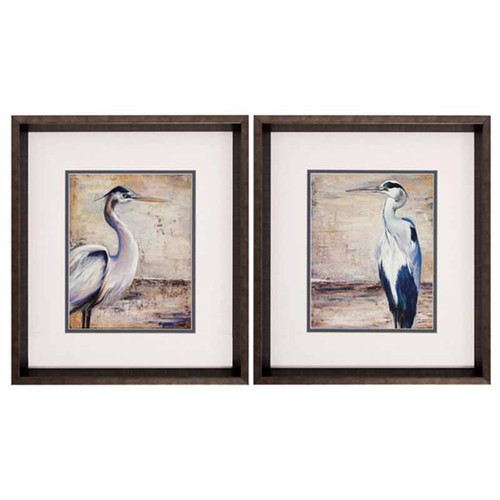 Shore Birds, Propac Images, framed, under glass. The Egret with its beautiful white, grey, and buff plumage is a tall, stately wader of quiet waters. Common throughout the United States, it wanders far to the north in late summer along the rivers and marshes near Robyn's Lake House