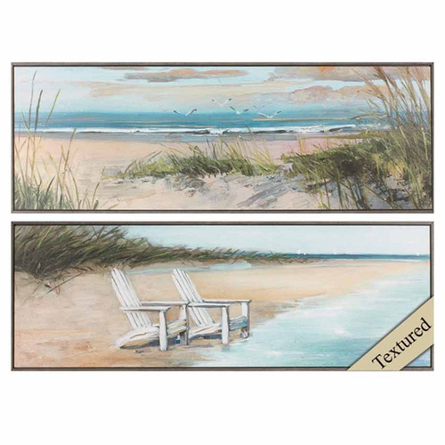 Wind Water, Propac Images, set of 2 textured prints, light frame,  A gentle breeze stirs the air, a chair awaits on the shoreline, the beach, the lake water and the sky combine in a beautiful serene setting