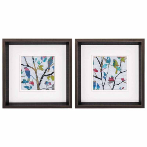 Woodland Story, Propac Images, set of 2, bird prints, framed under glass. Matisse-like colorful prints of birds on a tree branch.
