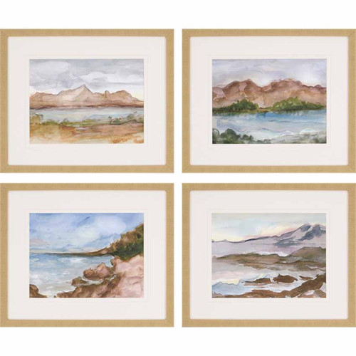 Plein Air, Paragon Art, a series of 4 images, framed, matted, under glass. These soft landscapes are beautifully done in the style of the California artists of the early 20th century.