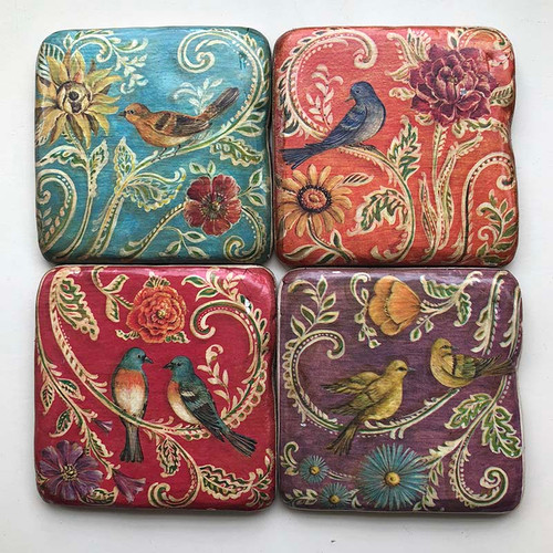 Set of 4 Colorful Bird Coasters, made of hard resin and measures 3 an 3/4 inches square, made by Creative Coop.
