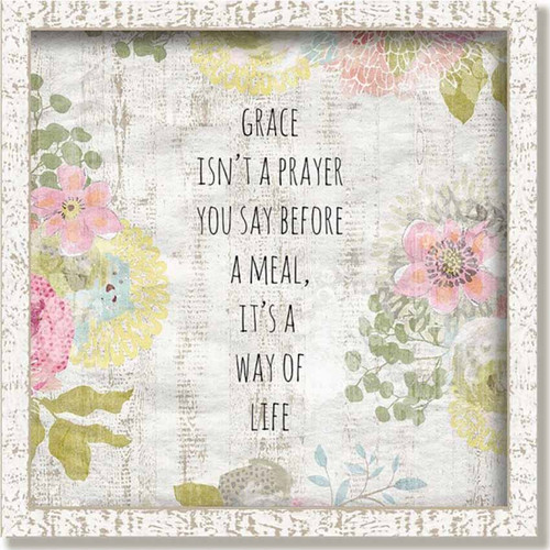 Grace is a Way of Life, Framed Art, Red Horse signs, pastel colors, flowers on a white background, white frame. Grace is not a prayer you say before a meal, it is a way of life, Suzanne Nicoll,  Lyra Collection