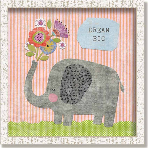 Dream Big Framed Art, Red Horse signs, An elephant sprouts flowers from its trunk, stnding on green grass against a striped persimmon background, Suzanne Nicoll, Lyra Collection wonderful inspirational quote, Why not dream big, on wood and framed in a vintage frame