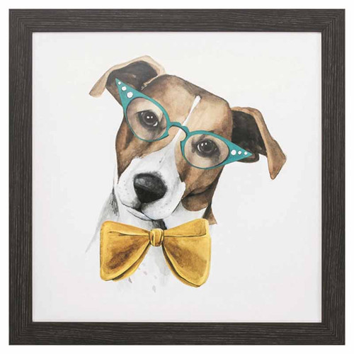 Vintage Pup II, Propac Images, a tan and white hound dog, dressed in a bright yellow bow tie, wearing blue cat glasses, Funny animal art framed, under glass