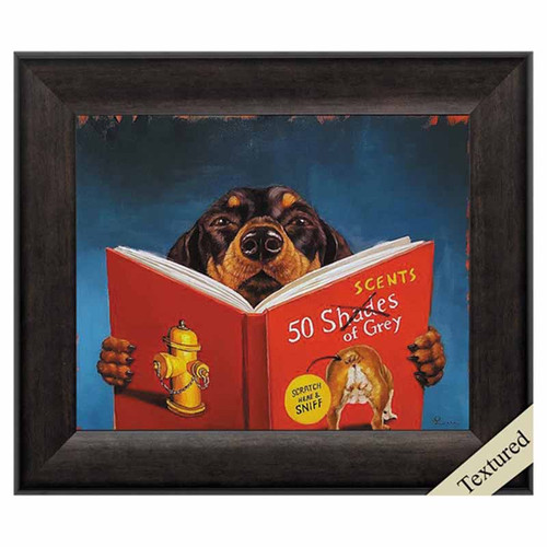 50 Scents of Gray, Propac Images, Framed Art, black and tan dog, reads a parody, 50 shades of gray, canine potty humor, for the outhouse or the cabin bathroom