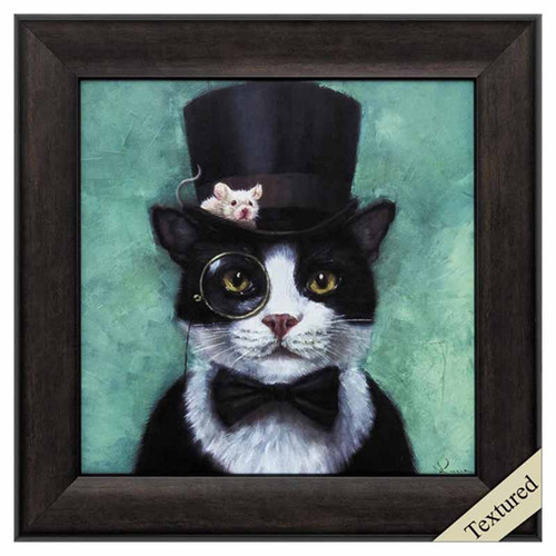 Tuxedo Cat, Propac Images, Funny animal framed print, black and white cat in tux and top hat with a mouse sitting on the brim.