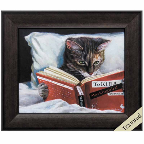 To Kill a Mockingbird, Propac Images framed art,  A funny look at a tabby cat in bed resting comfortably and reading every cat's favorites book