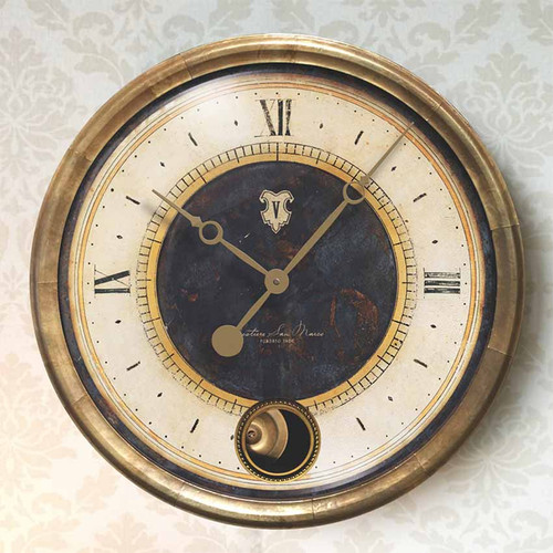 Caffe Venezia, black, Trademark Clocks, glass cover, outer frame antiqued copper sheet metal, internal moving pendulum. San Marco Sestiere is the most famous of the six districts in Venice due to the square of the same name and the cathedral, the Caffe Venezia was the place to meet