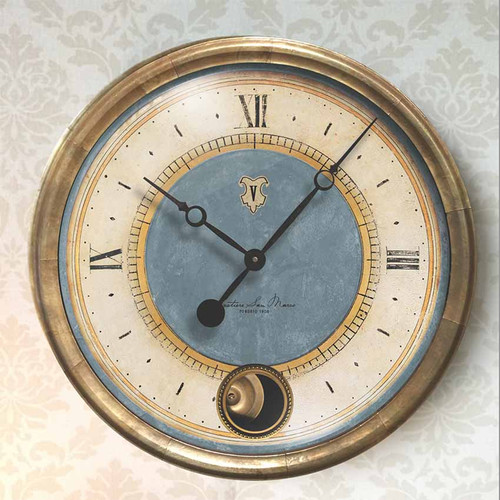 Caffe Venezia, azure, Trademark Time Clocks,  with glass cover, outer frame antiqued copper sheet metal, internal moving pendulum. San Marco Sestiere is the most famous of the six districts in Venice due to the square of the same name and the cathedral, Caffe Venezia was the place to meet