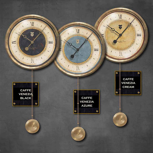 Caffe Venezia pendulum clock, black, azure, cream colors, Trademark Time Company, measures 16 inch diameter and 35 inch height, outer frame antiqued copper sheet metal. San Marco Sestiere is the most famous of the six districts in Venice due to the square of the same name and the cathedral. In Venice, the Caffe Venezia was the place to meet.