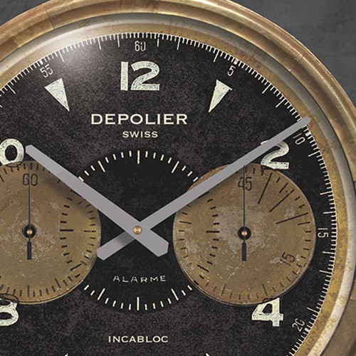 Chronograph black clock, 23 inch diameter, Trademark Time Company, Depolier Swiss watch maker, detail of the waterproof watch by Charles Depollier