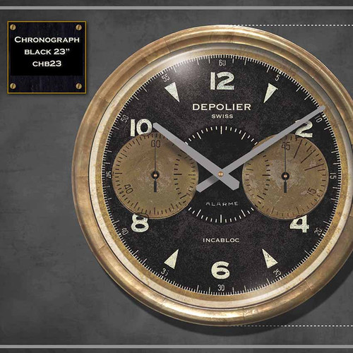 Chronograph black clock, 23 inch diameter, Trademark Time Company, Depolier Swiss watch maker.