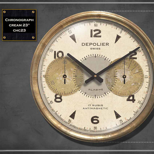 Chronograph cream clock, Trademark Time Company, Depolier Swiss watch maker, handsome cream face under glass, metal frame/antiqued copper sheeting