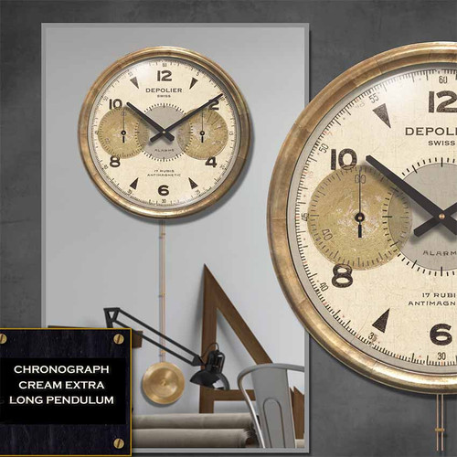 Trademark Time Company, Chronograph black clock, 16 inch diameter, long pendulum, Depolier Swiss watch maker, handsome black face under glass, metal frame/antiqued copper sheeting.