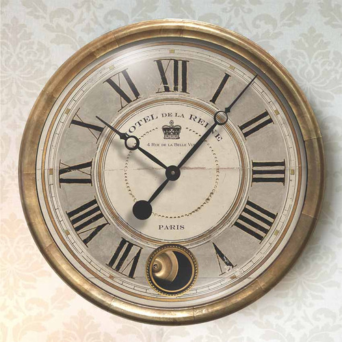 Trademark Time Company, Hotel de la Reine gray wall clock, outer metal rim is wrapped in antiqued copper, moving pendulum antique copper, gray and cream face under glass, Hotel de la Reine is French and translates as the Queen's Hotel