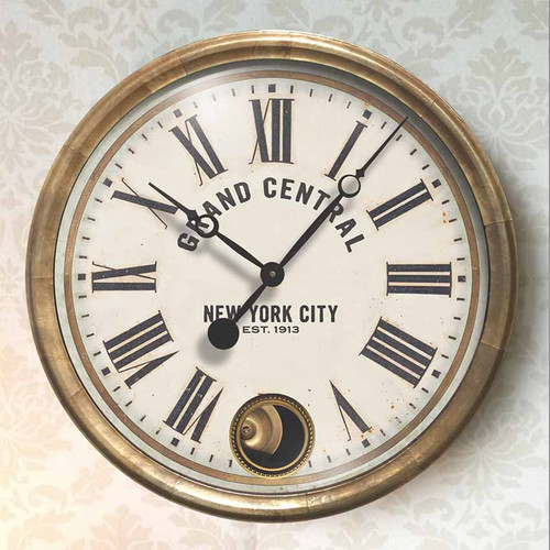 Trademark Time Company, Grand Central Terminal wall clock, white face, 16 inch diameter, antiqued copper sheeting frame, internal copper pendulum