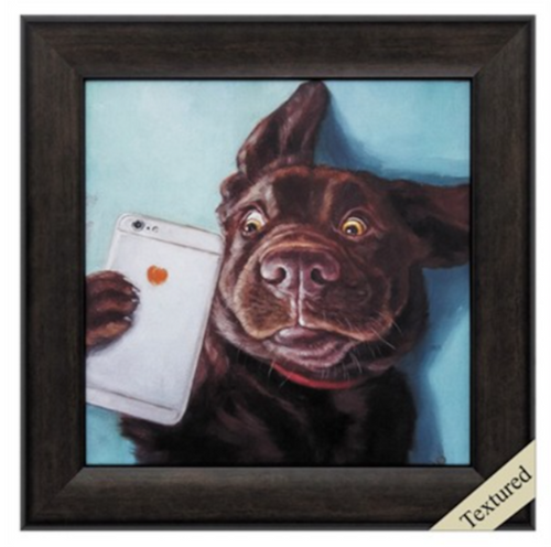 Propac Images, Dog Selfie, framed textured art,  Fun and Funky Art, good for your soul, cute chocolate Labrador retriever dog posing with an Iphone