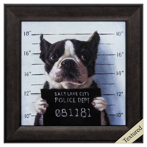 Propac Images, Mug Shot, framed textured art, Boston Terrier in a line-up, for the Salt Lake City Police Department.