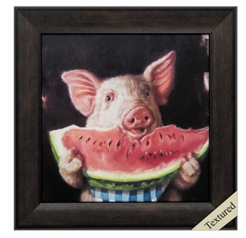 "Pig Out Propac Image, ""life is like eating a watermelon, you know you're going to get some seeds; just spit them out and take another bite.  This Propac Image is framed in a deep brow moulding. At Robyns Lake House its always Watermelon time!!"